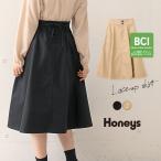 スカート フレア レースアップ 編み上げ きれい 可愛い 冬 冬新作 黒 ベージュ Honeys ハニーズ レースアップスカート