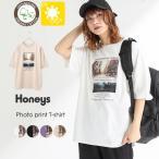 トップス レディース Tシャツ UVカット プリントT  フォトプリント 綿 夏 夏新作 Honeys ハニーズ フォトプリントTシャツ