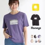 トップス Tシャツ レディース 半袖 夏 UVカット 綿 プリント 転写 夏新作 Honeys ハニーズ 半袖転写プリントTシャツ