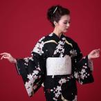 浴衣 レディース 3点セット (浴衣/帯/下駄) 黒 桜 (ブ