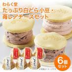 北海道 グルメ わらく堂 たっぷり白どら小豆・苺レアチーズセット 送料無料 代引不可