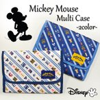 ミッキーマウス 総柄 マルチケース ポーチ ディズニー Disney 母子手帳 可愛い トラベル じゃばら 出産祝い