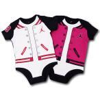 ベビー ジョーダン ロンパース 2枚セット Baby Infant Jordan Romper 2 Piece Set 赤ちゃん ベビー服 白黒マゼンタ BT068