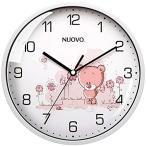 掛け時計 非電波 アナログ クロック サイレント ウォールクロック 小型 熊柄 壁掛け時計 連続秒針(E:ホワイト(熊柄), 20cm)