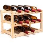 木製 ワインラック 積み重ね式 ホルダー シャンパン ボトル ウッド 収納 ケース スタンド インテリア(A・12本用収納/3段)