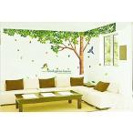 ウォールステッカー 樹木 & 新緑 鳥 仕上296x225cm シール 壁紙 インテリア リビング MDM(1種3枚(樹木&新緑&鳥))
