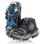 ZAFIELD アイゼン スパイク 19本爪 登山 雪山 トレッキング 簡単装着 収納袋付き 男女兼用  ブラック  L