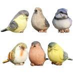 小鳥 置物 6個 セット ガーデニング 雑貨 庭 庭園 ガーデニング雑貨 動物 英国風 インテリア おしゃれ かわいい(小鳥 セット)