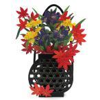 秋カード 立体多目的カード かごに生けた秋の草花 P2608 立てて飾れます サンリオ