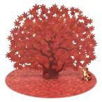 秋カード 立体多目的カード もみじ1本と猫 P2613 立てて飾れます サンリオ