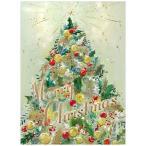 クリスマスカード 洋風 二つ折り クリスマスツリー グリーン S340-86 CHIKYU Christmas card グリーティングカード