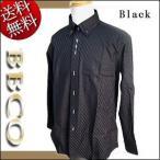 日本製 ビッグ BBCO/ビビコ 斜めストライプ柄ジャガード織 マイターボタンダウン 長袖シャツ 黒:M(1)/L(2)/LL(3)/3L(4)