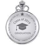 懐中時計 クラス2019 卒業祝い ギフト 刻印入り 卒業祝い 収納ボックス付き シルバー(Silver)