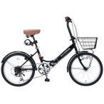【送料無料】【代引不可】My Pallas(マイパラス) 折畳自転車20インチ・シマノ6段ギア・LEDオートライト ブラック M-204MERRY【本州以外の配送不可】