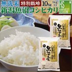 無洗米 5kg×2 新潟県 魚沼産 コシヒカリ 10kg 令和元年産 送料無料 特別栽培米 特A