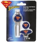 キャラクター SUPER MAN スーパーマン ゴルフマーカー 2個 ディボットフォーク キャップクリップ台座セット ゴルフコンペ景品 賞品 ゴルフ用品 ゴルフ