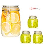 保存容器 ガラス フルーツの缶詰 瓶詰  耐気密缶 密閉ビン 密閉容器 容器 瓶 ビン 収納 ジャム蜂蜜全粒穀物ドライフルーツ1000ml