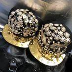 キャップ スカル イーグル デコ スタッズ 金 ゴールド ブラック 野球帽 帽子 R&B パンク ロック ストリート hiphop キラキラ ダンス B系 891108