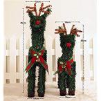 クリスマス トナカイの置物 デコレーション 可愛い リボン 花 飾り付け Christmas となかい 飾り オーナメント オブジェ プレゼ