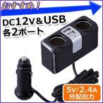 セイワ SEIWA シガーソケット 増設 LED 2連 USB 車 充電 スマホ 車載 カーチャージャー 5V 2.4A 分配器 ライト F253