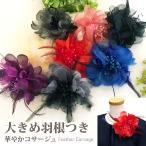オーガンジーの華やかコサージュ フォーマル レディース 結婚式 入学式 卒業式 発表会 羽根飾り&パールビーズ付き 全7色 9e