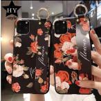 薔薇 バラ 花柄 ハンド ベルト付き リング iPhoneケース おしゃれ iPhon11 アイフォンケース 12 mini Pro MAX XS XR 78 Plus  SE2 携帯 スマホケース