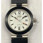 LONGブランド メンズ腕時計 アナログホワイトフェイス PVCブラックベルト