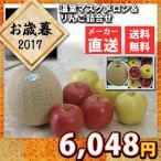 送料無料 メーカー直送 代引不可 数量限定 お歳暮 温室マスクメロン&りんご詰合せ 果物 フルーツ セット お取り寄せ