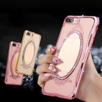 iPhone7 Plus ケース スマホケース iPhone7 Plus カバー おしゃれ 鏡付き キラキラ ダイヤ レディース 化粧なおしに最適