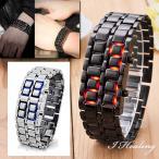 Yahoo!アイヒーリングLEDブレスレット腕時計 ブラック シルバー 3本セット