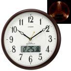 CITIZEN シチズン ピュアカレンダーM03電波掛時計(自動点灯ライト カレンダー表示付)