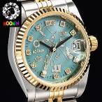 ショッピングムーミン 70周年記念ムーミン腕時計 スナフキン ダイヤ スワロフスキーウォッチ 日付機能
