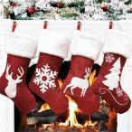 クリスマス靴下 四点セット お菓子入り 袋 クリスマス飾り ソックス クリスマスツリー 鹿 雪花 デコレーション プレゼント袋 壁掛け 玄関飾り 【送料無料】