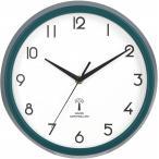 不二貿易 掛け時計 電波時計 直径27cm グリーン スイープ 連続秒針 静音 カペラ 27267