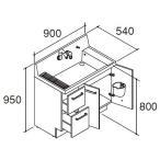 LIXIL INAX 洗面化粧台 ピアラ 化粧台本体 間口900mm 引出タイプ AR2H-905SY