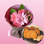 誕生日プレゼント 花 母親 祖母 せんべい 厳選3種 詰合せ & ピンクの花束 基本送料無料 (SE)