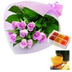 お歳暮 お祝い 内祝い 花とスイーツ ギフトセット ピンク バラ 花束 と 国産野菜とフルーツの無添加ゼリー詰合せ 6個 写真入りメッセージカード (SE)