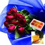 花とスイーツ ギフトセット レッドバラ 花束 と 国産野菜とフルーツの無添加ゼリー詰合せ 6個 写真入り・名入れメッセージカード 送料無料 送料込 (SE)