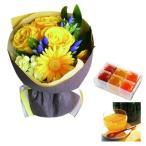 花とスイーツ ギフトセット かわいいレッド バラ ミックス花束 と 国産野菜とフルーツの無添加ゼリー詰合せ 6個 写真入り・名入れメッセージカード (SE)