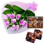 お歳暮 お祝い 内祝い 花とスイーツ ギフトセット エレガント ピンク バラ 花束 と 木の実と果物のチョコレートケーキ 6個 洋菓子 写真入りメッセージカード