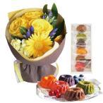 花とスイーツ ギフトセット かわいいレッド バラ ミックス花束 と はちみつとクリームチーズのフルーツケーキ6個 写真入り・名入れメッセージカード (SE)
