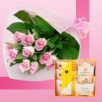 誕生日プレゼント ピンクローズ花束&山口銘菓スイーツギフトA お母さんへの退職祝い/古希/メッセージカード付き