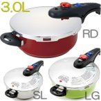 【あすつく】ルミナスプラス | 毎日使いカラー3.0 L | DCRK-3.0Q | 約4合炊き | 2段階片手圧力鍋 | ガラス蓋 予備パッキン2個付