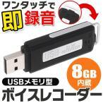 【ワンタッチで即録音できる!!】超小型 ICレコーダー USBメモリー 8GB内蔵 12g軽量 かんたん操作 PCデータ保存 長時間録音 ◇ USBメモリ型ボイスレコーダー 8GB