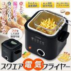◆食卓で揚げたての天ぷらを◆ 電気を使う揚げもの調理器 卓上コンパクトフライヤー 1.2L バスケット付 温度調節 だれでも簡単 安全 ◇ スクエア 電気フライヤー