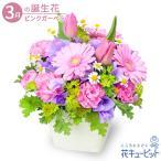 3月の誕生花(ピンクガーベラ等) 誕生日 お祝い 記念日 プレゼント 花キューピットの春のガーデンアレンジメント(ピンク)