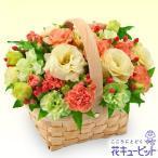 お祝い 花キューピットのトルコキキョウのウッドバスケットアレンジ