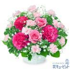 お祝い・ピンクバラのアレンジメント 花キューピット 花 誕生日 記念日 歓送迎 結婚祝い