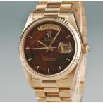 3年保証 OH済 ロレックス ROLEX デイデイト 時計 18038 マホガニー 8番 自動巻 メンズ K18YG無垢 2405000888395 中古