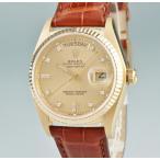 ロレックス ROLEX デイデイト 18038A OH済 K18YG無垢 純正ダイヤ 5番 自動巻 メンズ 腕時計 ウォッチ イエローゴールド クロコ ブラウン 中古